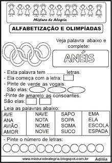 ATIVIDADES SOBRE JOGOS OLÍMPICOS 2016 E ALFABETIZAÇÃO, IMPRIMIR E COLORIR - SÓ ESCOLA