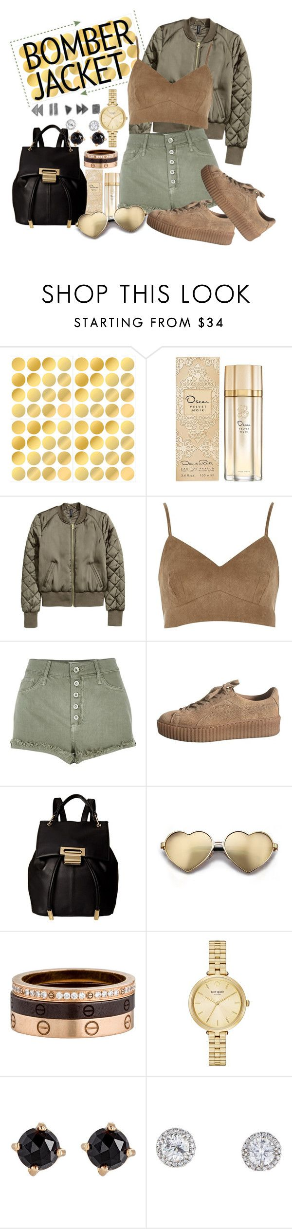 """Bomber jacket ♥"" by passion-girlz ❤ liked on Polyvore featuring Oscar de la Renta, River Island, Ivanka Trump, Wildfox, Cartier, Kate Spade, Irene Neuwirth and bomberjackets"