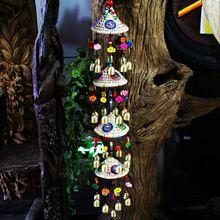 Unieke Yunnan Traditionele Folk Ambachten mascotte 33 Klokken Windgong Creatieve Hout Vis Kralen Kerst Decor(China (Mainland))