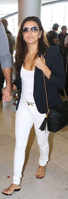 Eva Longoria: Purse – Chanel  Jacket – Gerard Darel  Jeans – Henry & Belle  Belt – Hermes  Shoes – Giuseppe Zanotti