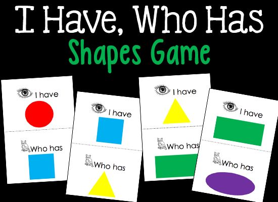 "This ""I Have, Who Has"" Shapes Game will spark the interest of your Pre-K and Preschool kids while teaching them to identify shapes. Best for group play."