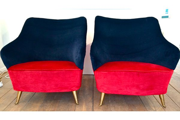 Pair Of Italian Cocktail Chairs In Red And Navy Blue Velvet photo 1