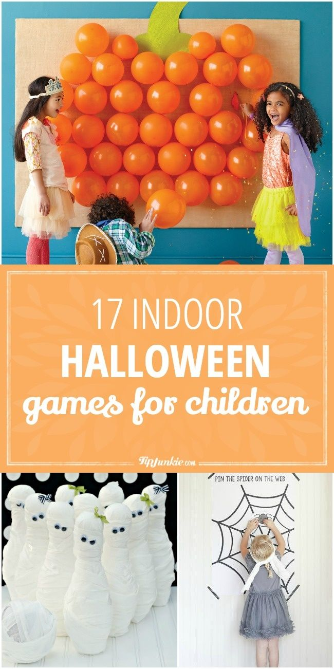 17 Indoor Halloween Games for Children: Tin Can bowling and spider web
