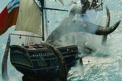 Kraken (el fabuloso monstruo marino)- Cuentan las antiguas crónicas que este animal de grandes dimensiones, (su lomo podía medir hasta dos kilómetros y medio), poseía unos larguísimos y poderosos tentáculos con los que se abrazaba a los barcos y terminaba llevándolos al fondo del mar.