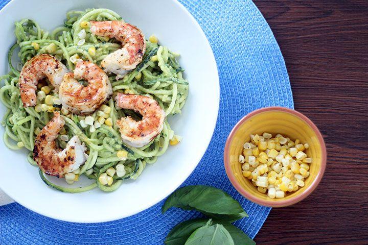 Avocado-Basil Zucchini Noodles with Chile-Lime Shrimp & Corn