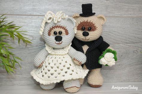 Wedding Teddy Bears Free Crochet Pattern Amigurumi Stuffed Toy