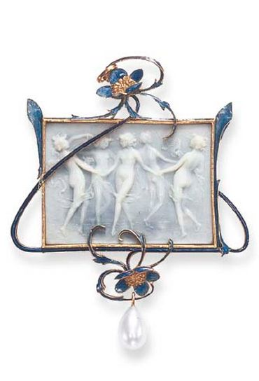 A DELICATE ART NOUVEAU ENAMEL AND PEARL PENDANT, BY RENE LALIQUE  Centering upon a carved and stained blue simulated ivory plaque depicting five dancing nymphs, within a scrolling blue guilloche enamel frame, enhanced by two textured gold and blue enameled flowers extending curving tendrils, suspending a drop-shaped pearl, mounted in 18k gold, circa 1902-1903, with French assay marks and maker's mark Signed Lalique for René Lalique, with maker's mark for René Lalique