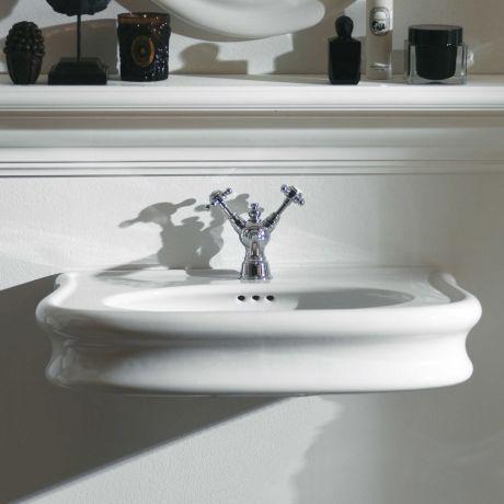 Simas Lante LA 10 Waschtisch, Wandhängend, Auf Säule Oder Unterschrank Mit  Hahnloch, Weiß
