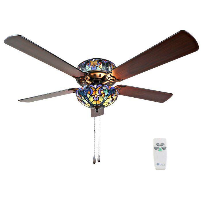 52 5 Blade Ceiling Fan Light Kit Included Ceiling Fan Stained