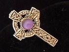 VINTAGE - Silvertone Celtic Cross & Purple Glass Stone RING - Adjustable