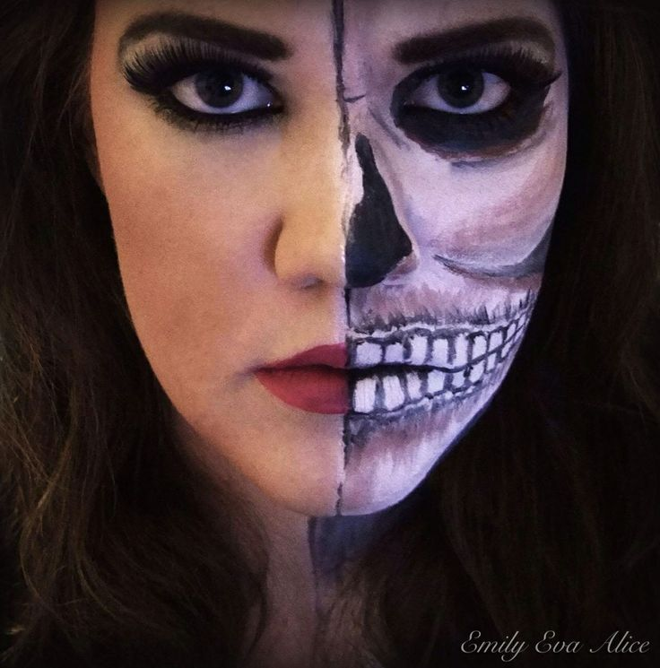 Half face, half skull makeup. | My makeup work ...