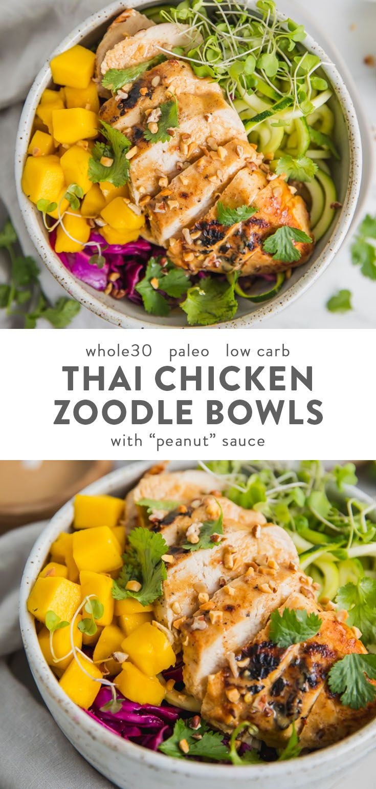 "Whole30 Thai Chicken Zoodle Bowls (With ""Peanut"" Sauce, Low Carb, Paleo)"
