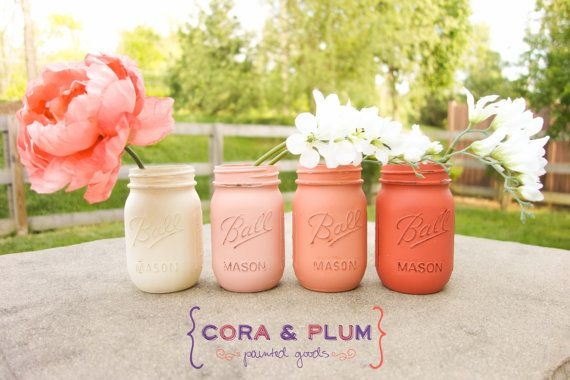 Shabby Chic Painted Mason Jars Coral Ombre Wedding Centerpieces Baby Bridal Shower Country Wedding Home Decor Gender Reveal on Etsy, $20.00