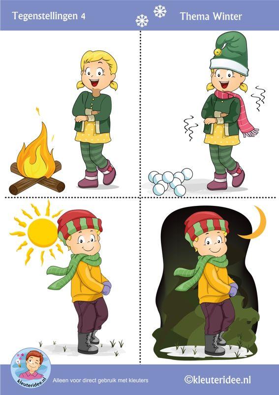 Tegenstellingen voor kleuters 4 thema winter, Preschool winter opposites free printable.
