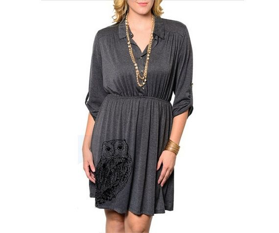 Owl Dress Womens Plus Size Red Plus size dresses by MoxieMadness