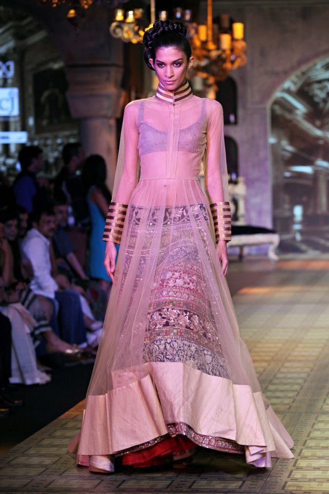 Manish Malhotra Delhi Couture week 2012 - brilliant way to reuse those heavy lehngas below this new style