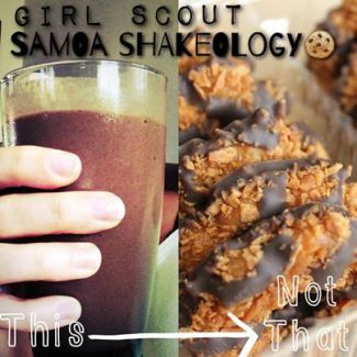 Samoa Girl Scout Cookie Shakeology Recipe -1 scoop of chocolate Shakeology -1 cup of unsweetened almond milk -1 cup of ice cubes -1/2 teaspoon of caramel extract (can get this on amazon, lots of options to choose from) -1/2 teaspoon of coconut extract (got this at my local grocery store) – sprinkle of shredded coconut flakes (optional, I have the organic finely shredded unsweetened bag) – Blend all together and enjoy!