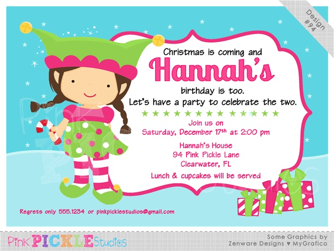 Girl Elf Personalized Party Invitation-personalized invitation, photo card, photo invitation, digital, party invitation, birthday, shower, announcement, printable, print, diy, christmas, holiday, pink
