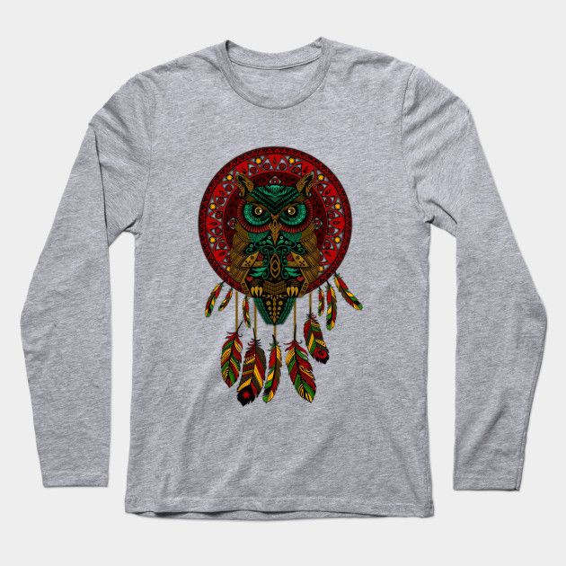 OwL Dream Catcher Long Sleeve T-Shirt #LongSleeve #TShirt #clothing #dreamcatcher #thedayofthedead #halloween #mexico #sugarskull #mexicoskull #dayofdead #mexicanart #muertos #diadelosmuertos #indian #native #american #owl #pattern #skull #owls #chief #indianchief #birds