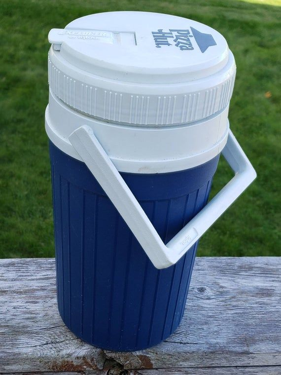 Vintage Pizza Hut Explorer by Igloo Drink Cooler Jug, Blue White, Flip Lid, 1/2 Gallon