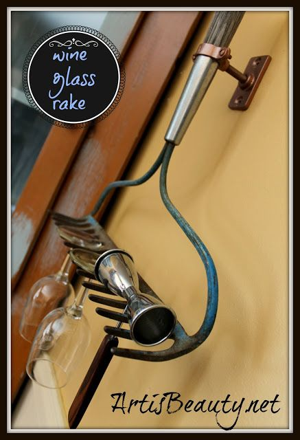 ART IS BEAUTY: Wine Glass holder from Vintage Rake