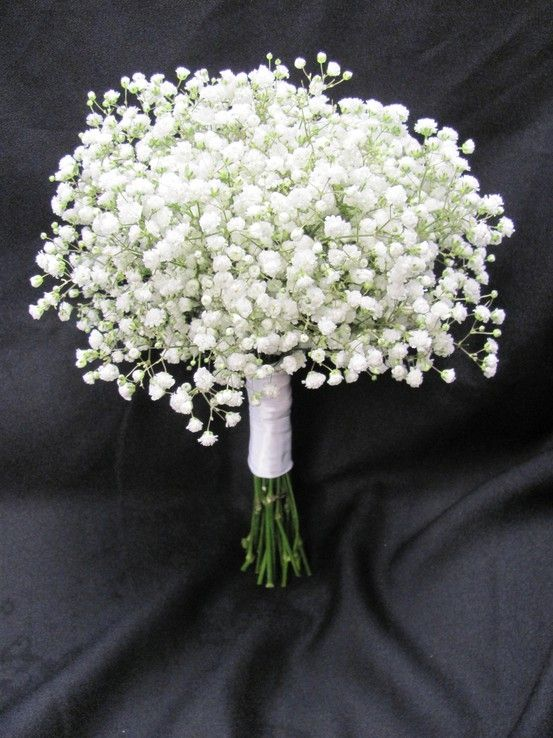 Bridesmaids bouquet of babies breath, so simple and elegant.