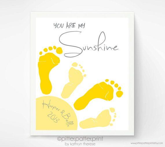 11x14 inch You Are My Sunshine Wall Art Print - Footprint Sun, Playroom Art, Sibling Art, Gray & Yellow Nursery Art, Baby Footprint Art