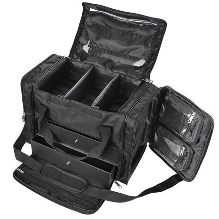 Large Black Soft Makeup Artist Train Case with Drawers