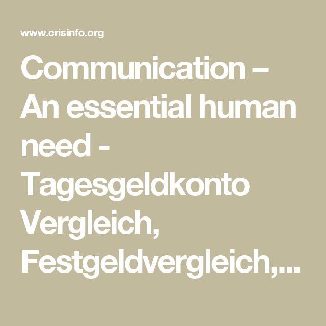 Communication – An essential human need - Tagesgeldkonto Vergleich, Festgeldvergleich, Girokonto Vergleich