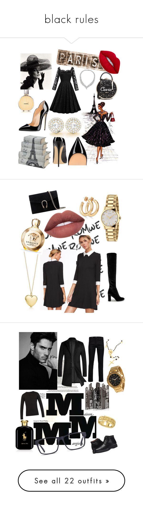 """black rules"" by fashionstar333 ❤ liked on Polyvore featuring Leftbank Art, Kate Spade, Chanel, parisfashionweek, Packandgo, CHARLES & KEITH, Gucci, Versace, Maison Margiela and Falke"