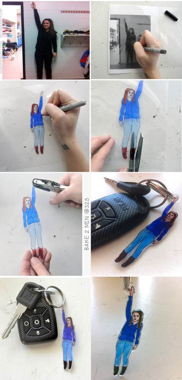 Make a tiny keychain of you! So cute and easy     http://52weeksproject.com/post/42805742526/guest-post-shrinky-dink-keychain