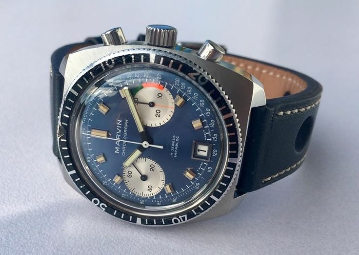 Marvin chrono on blue racing strap