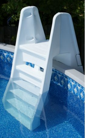 the azur ladder combines security and sturdiness with a weight limit of perfect for the above ground pool the outside part is equipped with a door that - Above Ground Pool Outside Steps