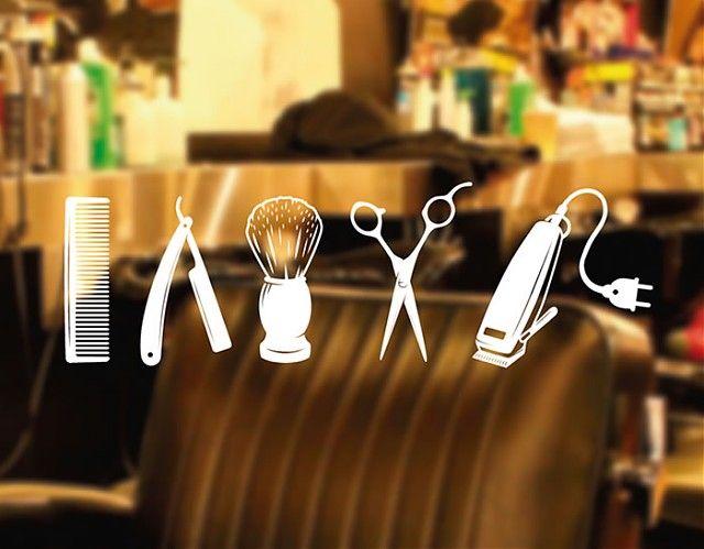 . Decoración de Peluquerías y Barberías con vinilos adhesivos Colección de herramientas de barbería 04376