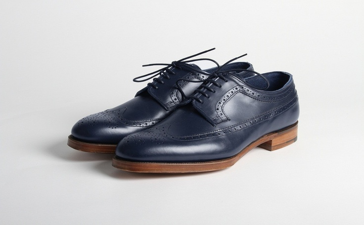 Blue Brogues on Wood. Perfect.