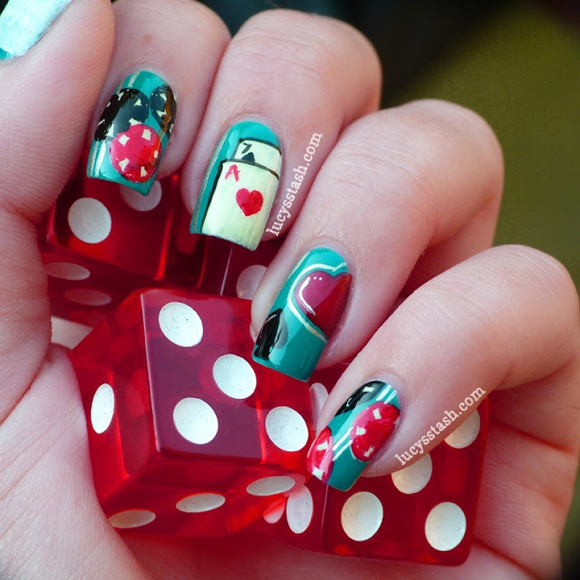 16 best vegas nail art images on pinterest vegas nails vegas lucys stash casino themed nail art featuring opi a england and nails inc prinsesfo Gallery