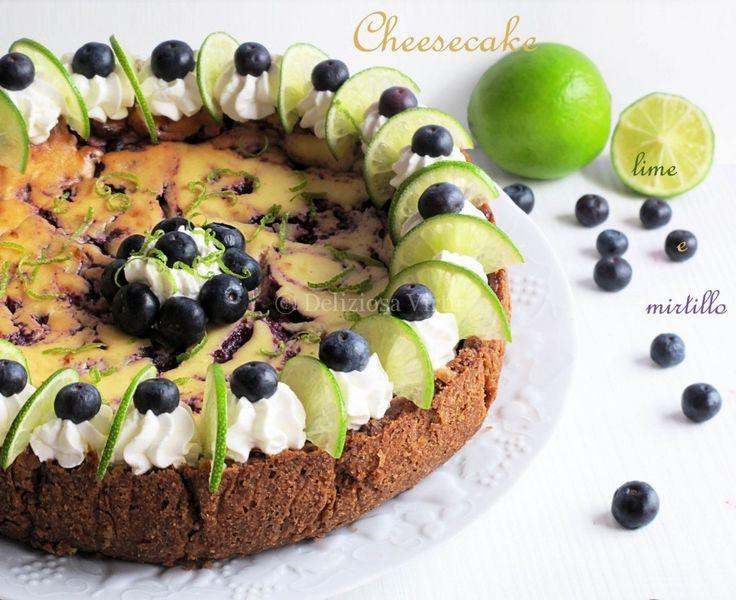 Cheesecake lime e mirtillo