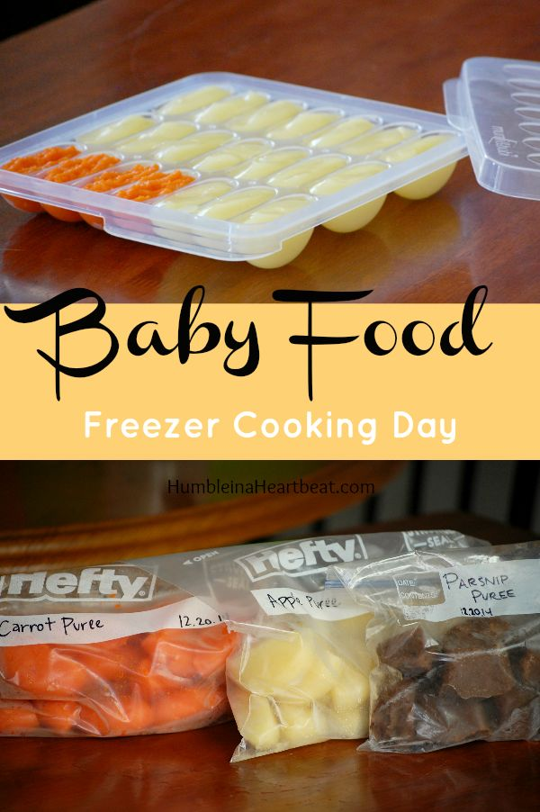 Don't stress about feeding your baby! Spend a few hours making baby food, throw it in the freezer, and you'll have plenty of meals for your baby ready to go at a moment's notice!