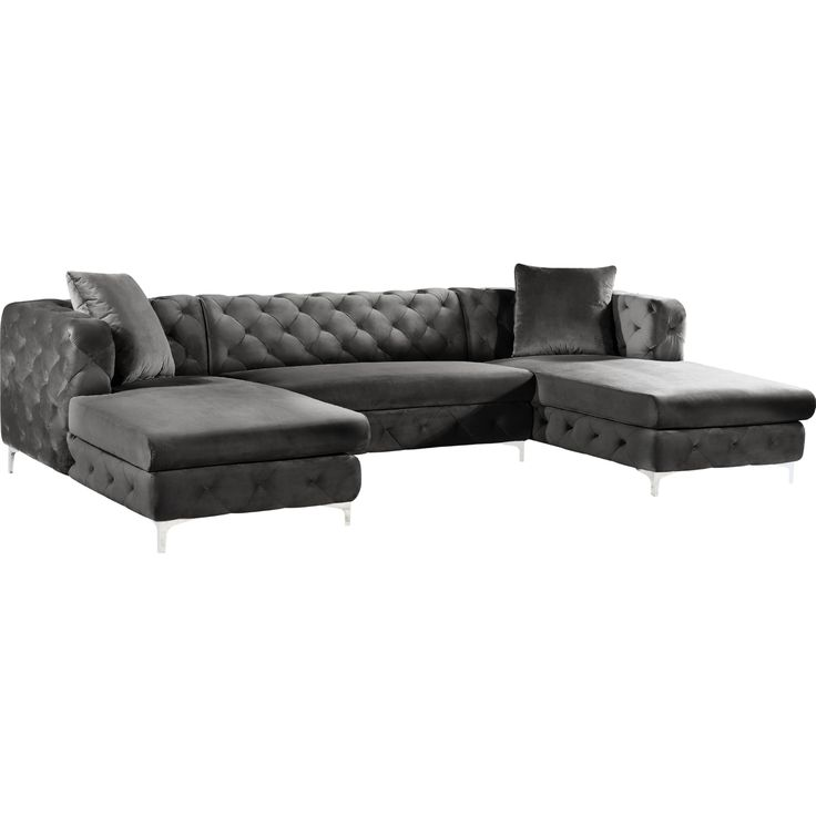 Best Meridian Furniture 664Navy Sectional Gail 3 Piece Double 400 x 300