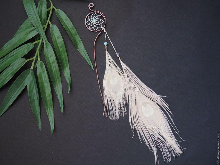 Шпилька для волос, с перьями - Тайна белого павлина, белый - перо, перья, перья в волосы