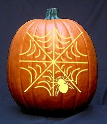 Spider in Web Pattern - Free Halloween Pumpkin Carving Patterns