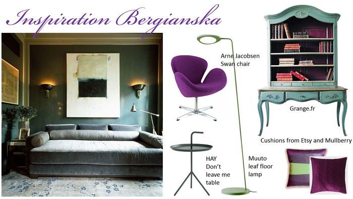 Moodboard in purple and green.