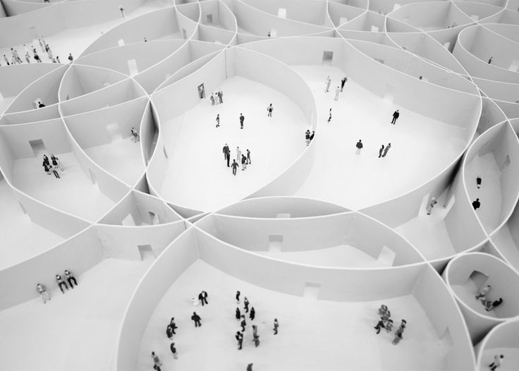 #next_top_architects Mauricio Pezo and Sofia von Ellrichshausen a concept for a megastructure built from 100 overlapping circular enclosures