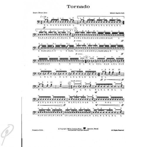 tornado for solo snare drum solos snare drum percussion snare drum sheet music. Black Bedroom Furniture Sets. Home Design Ideas