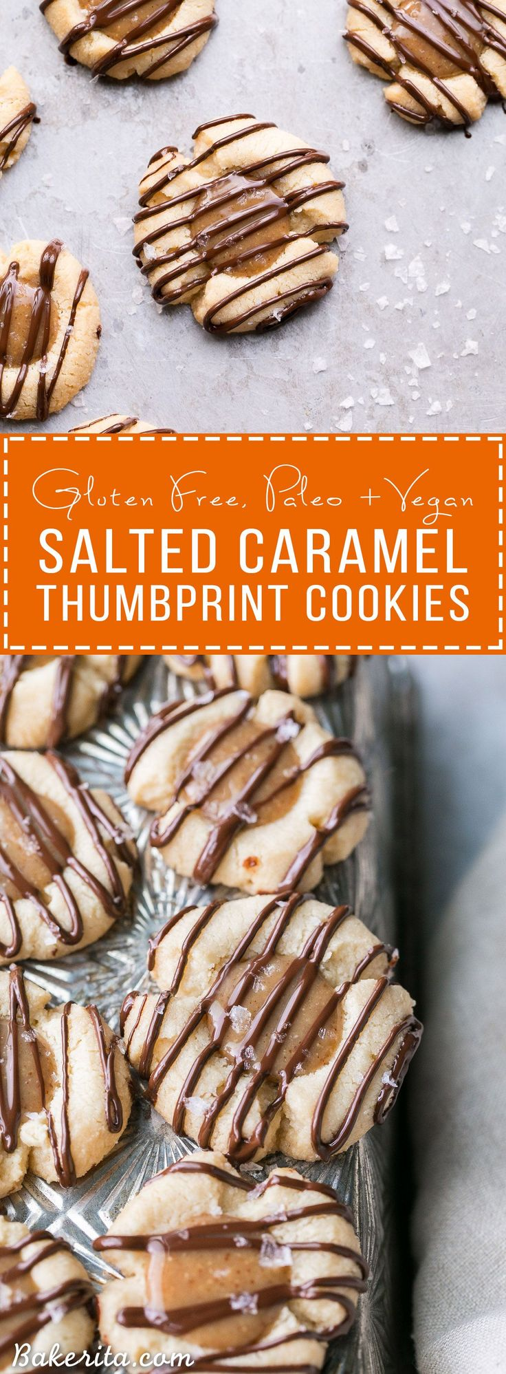 These Salted Caramel Thumbprint Cookies are super easy to make with only 6 ingredients total! The tender gluten-free and Paleo shortbread cookies are filled with a no-cook vegan caramel and topped off