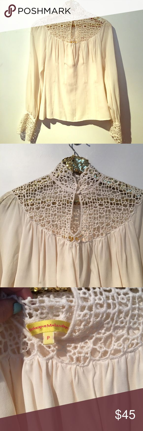 CATHERINE MALANDRINO SILK BLOUSE SIZE P New flawless silk blouse with cotton eyelet design Catherine Malandrino Tops Blouses