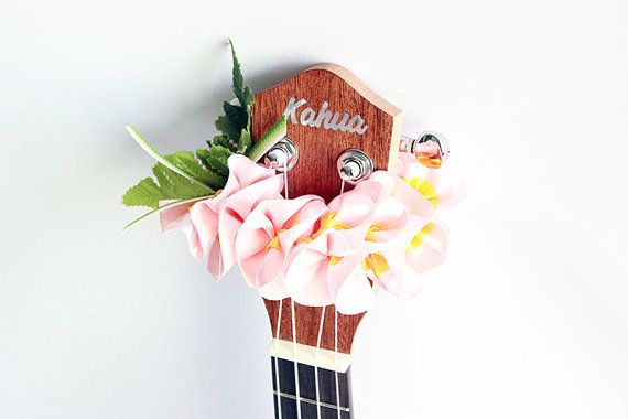 This is ribbon lei for ukulele, made with ribbon - pink plumeria.