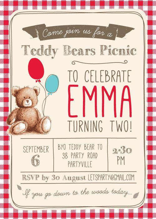 Picnic Birthday Invitations | 17 Mejores Imagenes Sobre Teddy Bear S Picnic En Pinterest Picnics