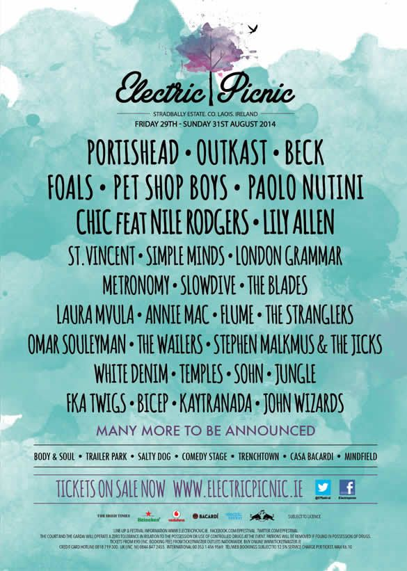 29 – 31 August 2014 @ Stradbally Estate, Co. Laois - Electric Picnic Music  Arts Festival