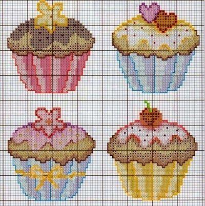 grafico de cupcake para bordar ponto cruz